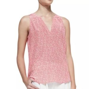 JOIE Pink Dotted Silk Sleeveless Blouse Top